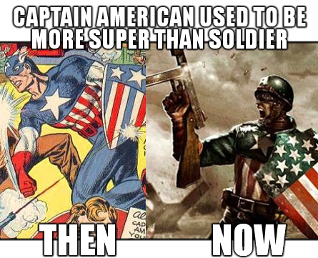 Captain America's shield symbolized the ability of non violent or defensive strategies to overcome conflict. But this anti war metaphor is subverted when this patriotic hero archetype is portrayed now with firearms. Captain America becomes a conqueror instead of a defender.